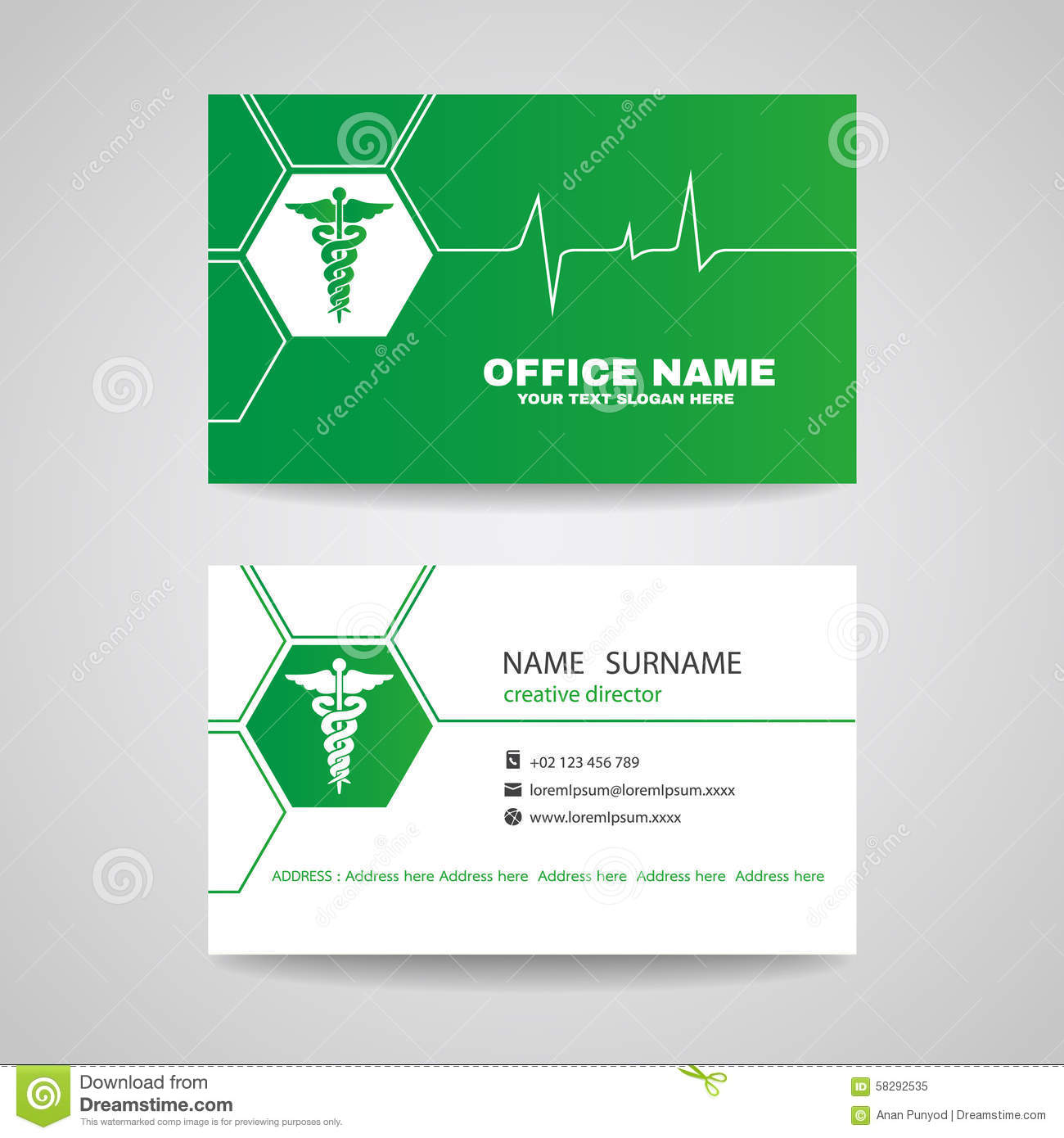 Business Card For Medical Healthcare - Green Caduceus And Waves Of ...