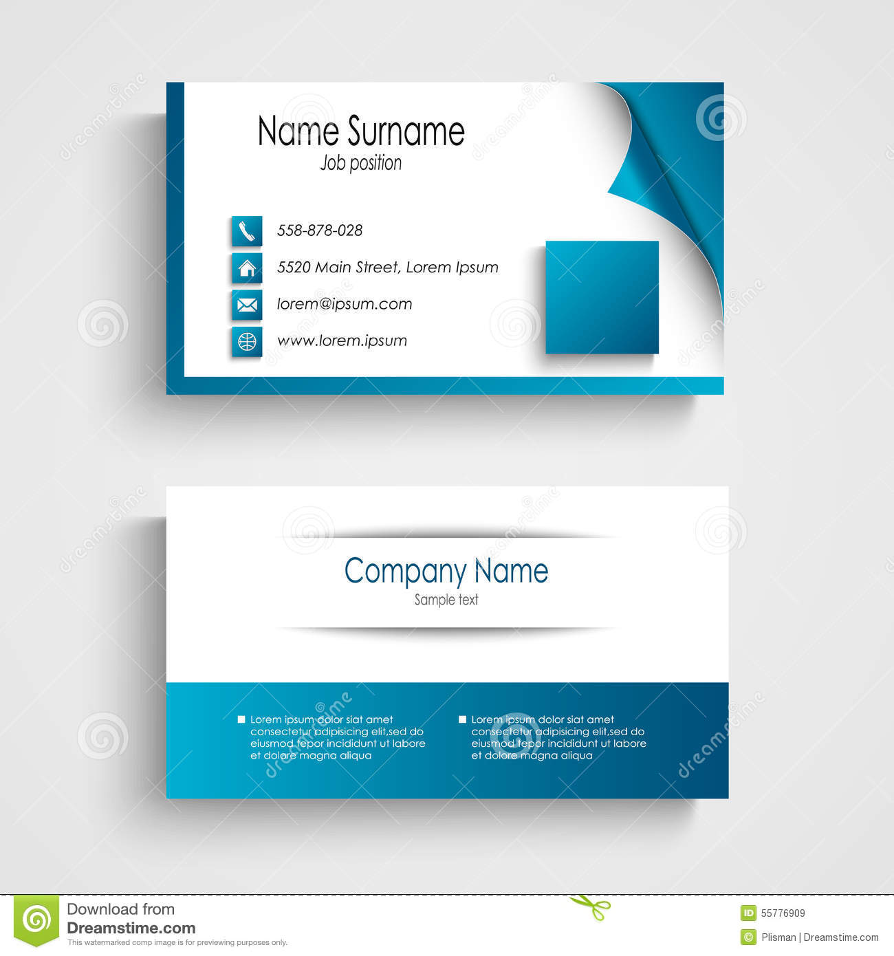 business card modern blue and white template stock vector image
