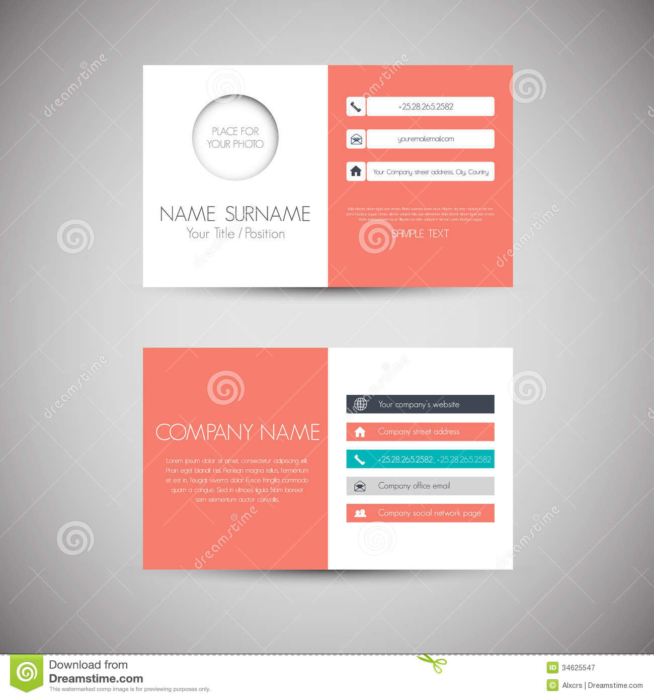 Modern business card template with flat user interface stock business card royalty free stock photography colourmoves