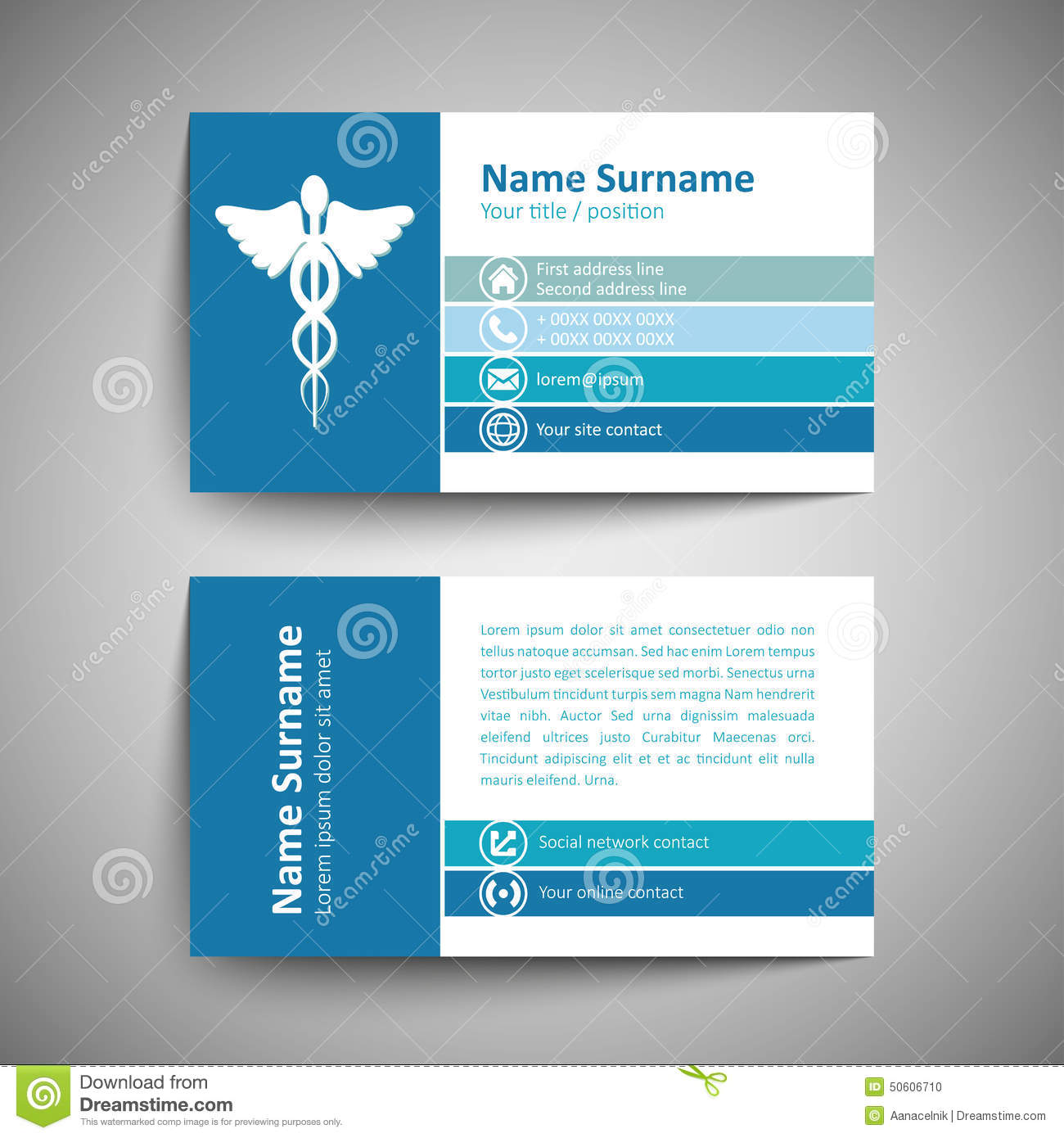 Business card stock vector. Illustration of office, blue - 50606710