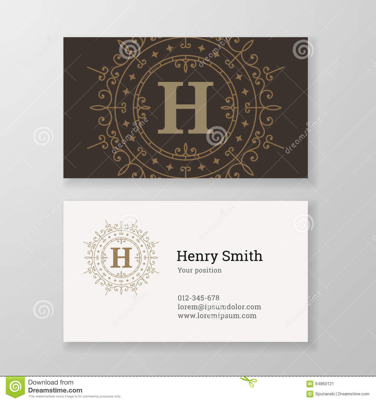 Business Card Monogram Emblem Letter E Template Design. Stock Vector ...