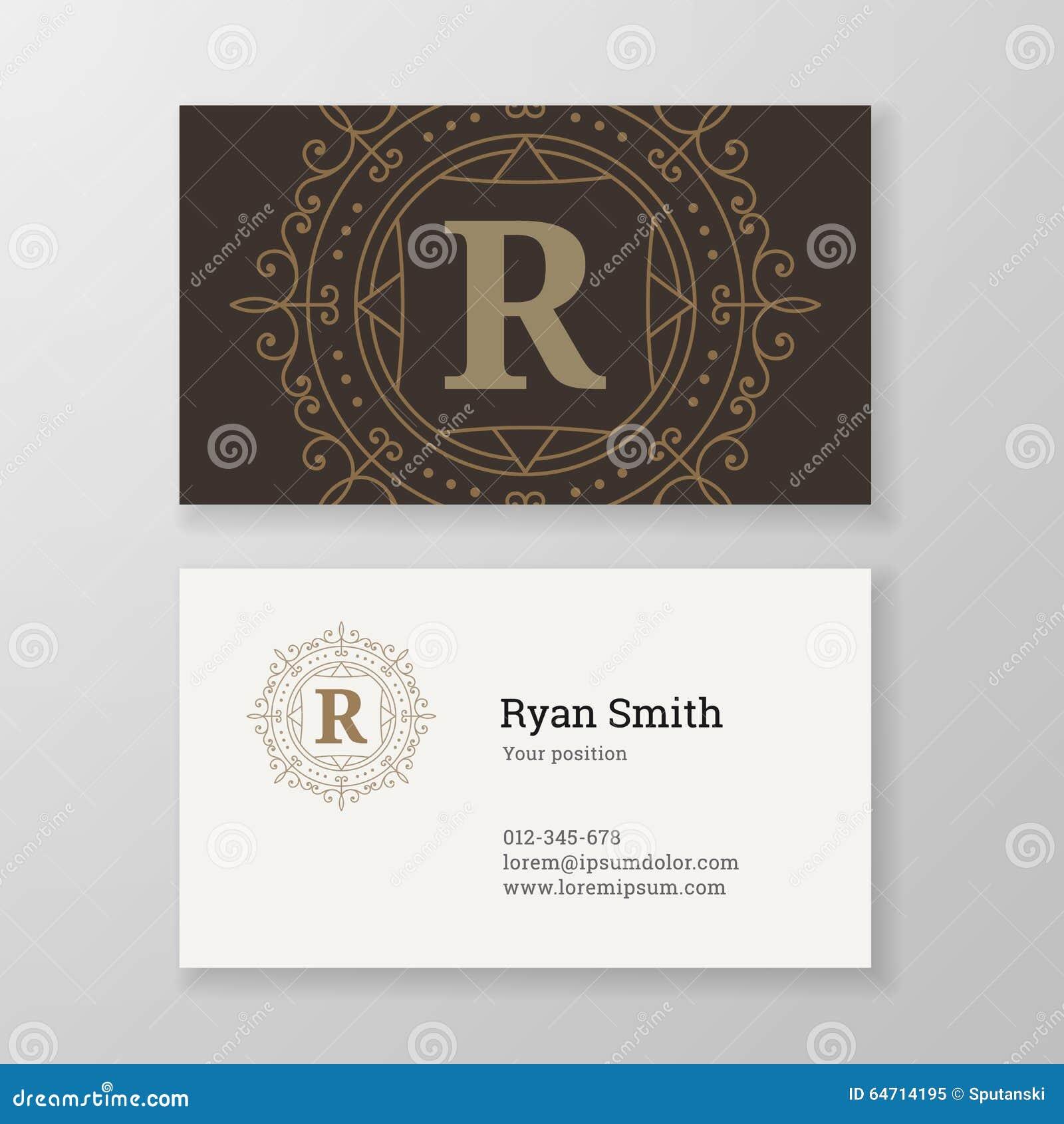 Business Card Monogram Emblem Letter R Template Design