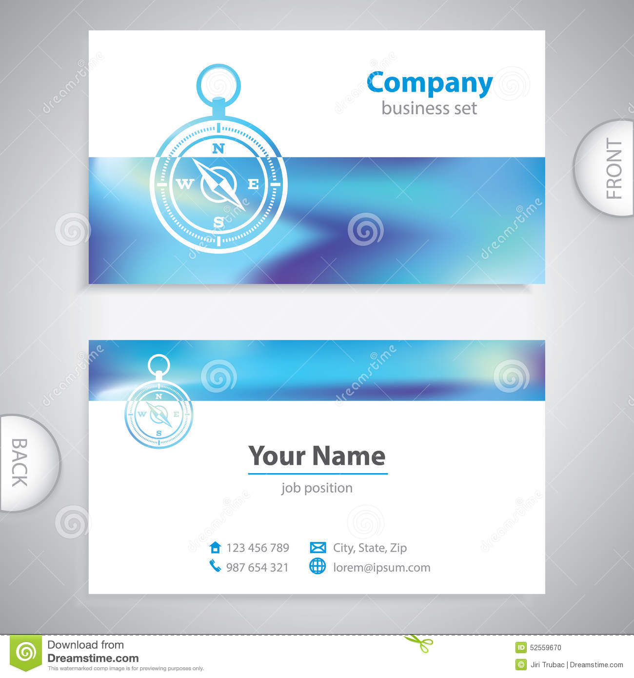 Business Card - Navigation Compass - Maritime Symbols - Company ...