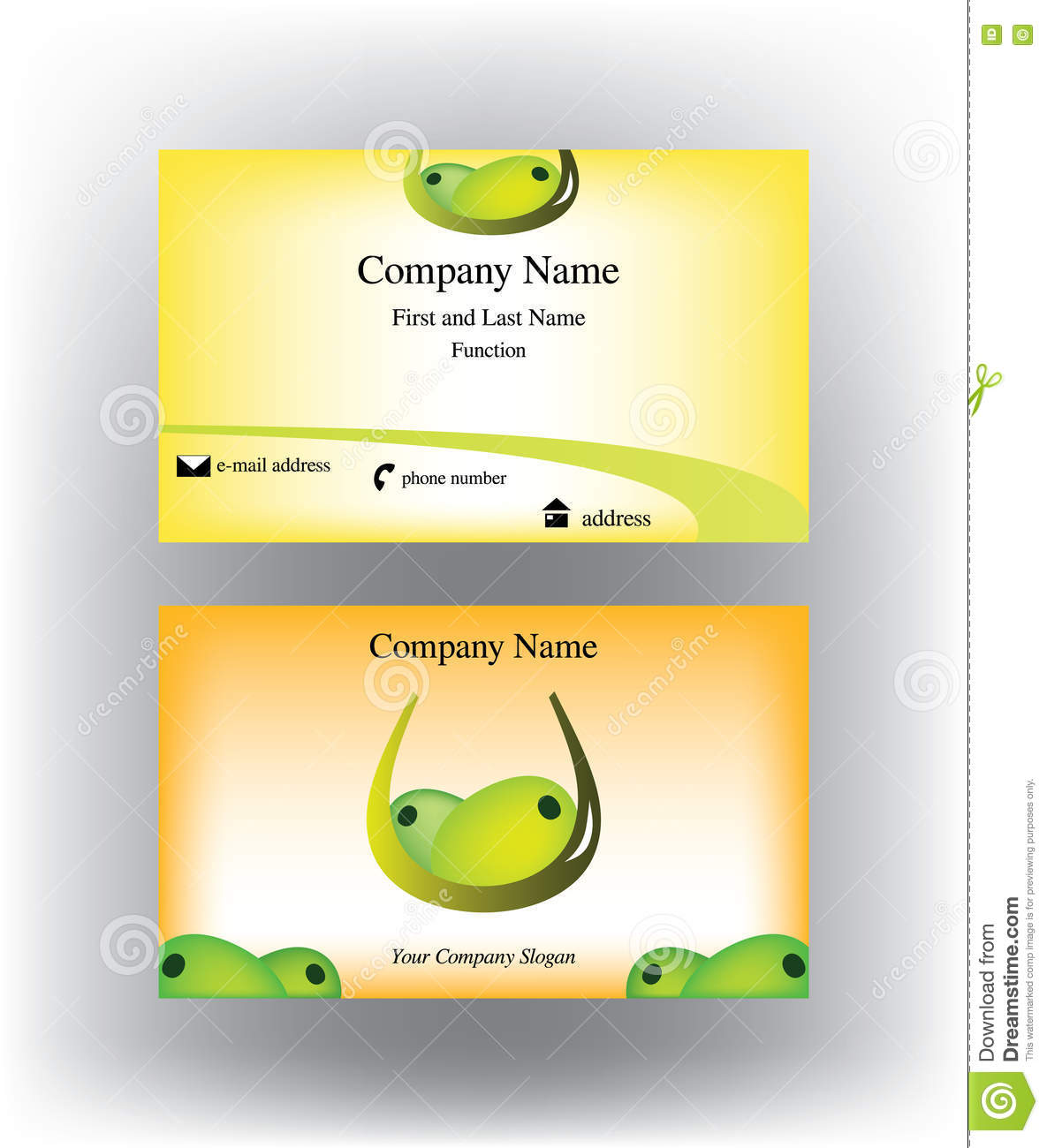 Business Card With Olives Design Stock Vector Illustration Of