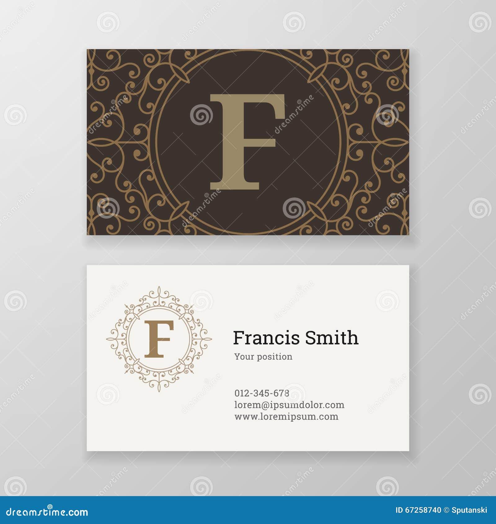 Business card monogram emblem letter h template design stock business card ornament emblem letter f template design stock photo magicingreecefo Images