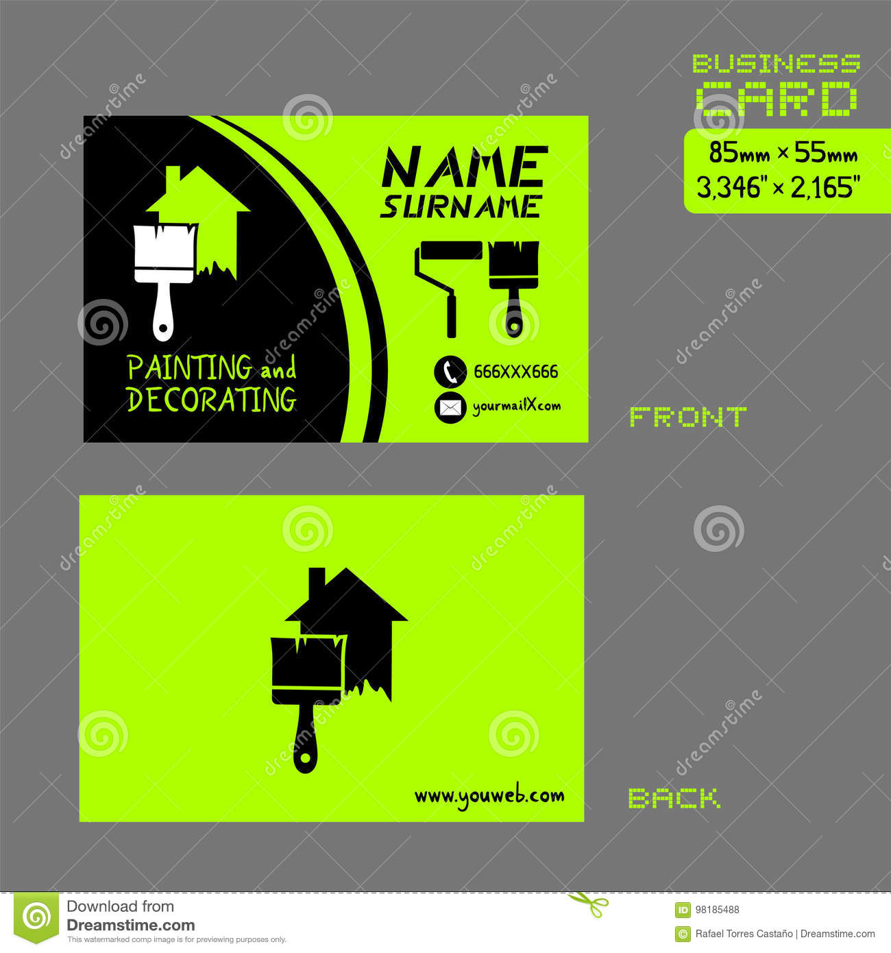 Business card for painter worker stock vector image 98185488 business card for painter worker magicingreecefo Gallery
