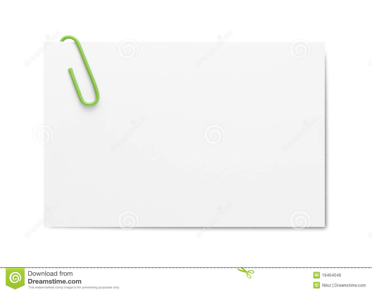 Business Card With Paper Clip Stock Image - Image: 19464049