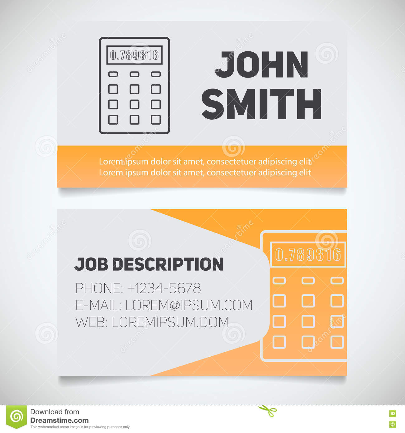 Business Card Print Template With Calculator Logo Stock Vector ...