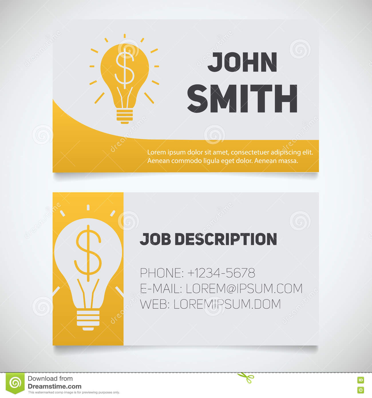 business card print template with light bulb and dollar logo stock