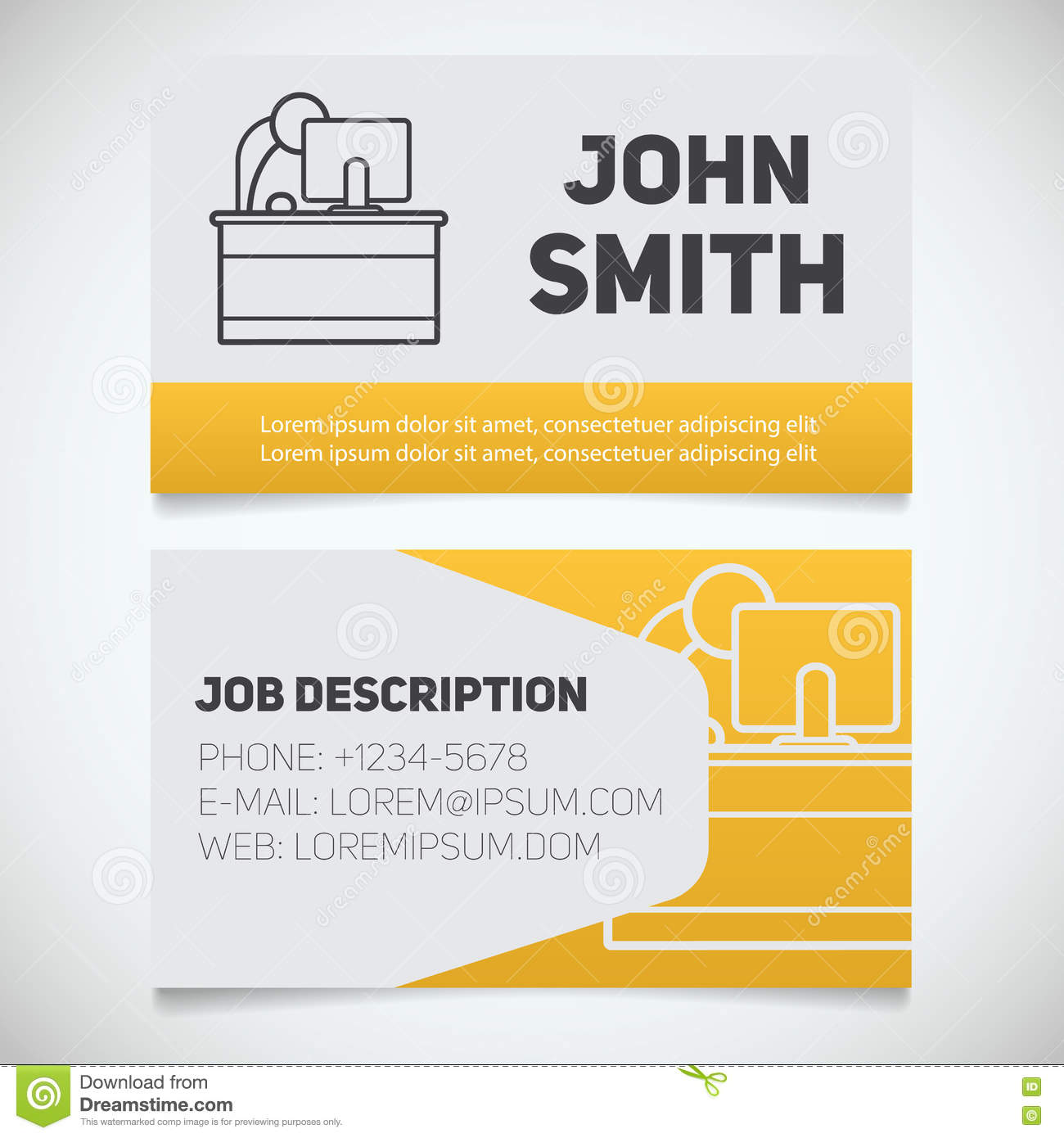 Business Card Print Template With Office Manager Logo Easy Edit - Office business card template