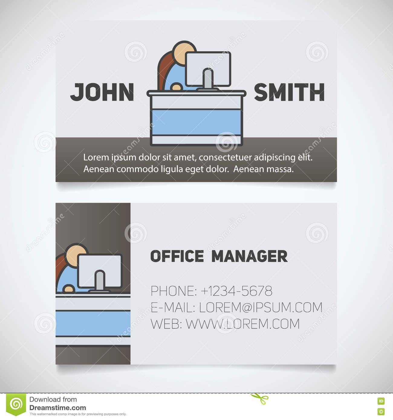 Business Card Print Template With Office Manager Logo Stock Vector ...