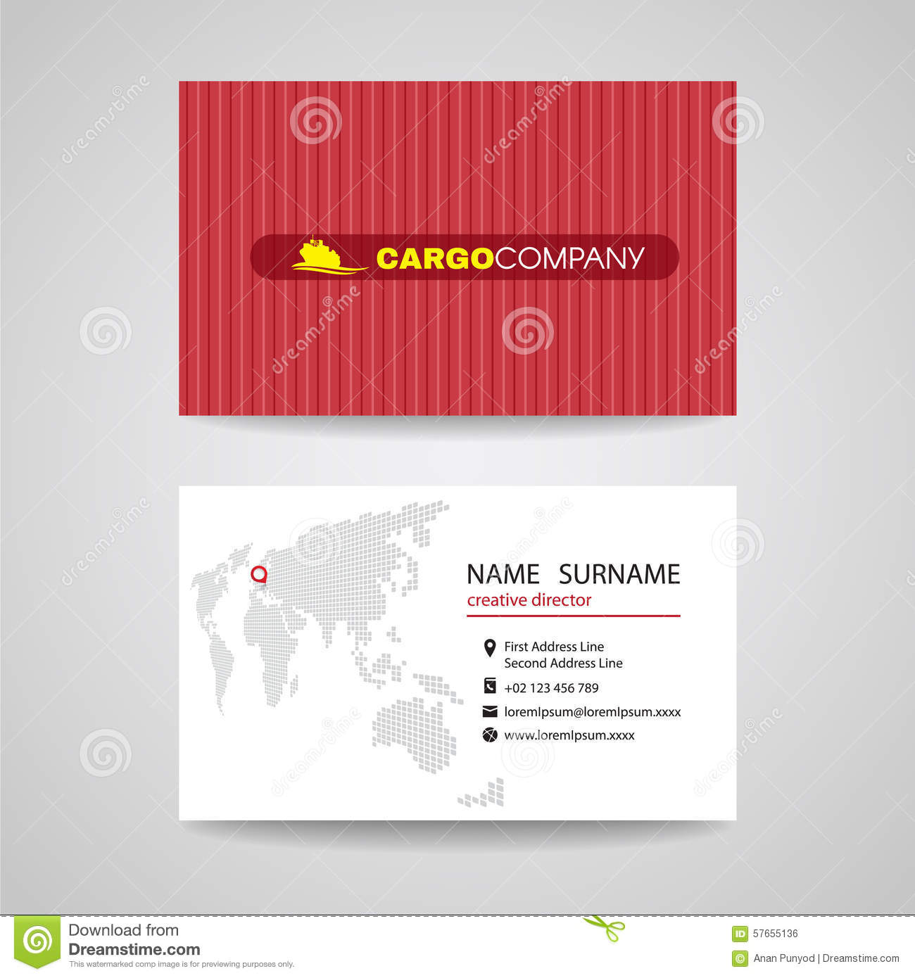 business card red container vector background for cargo or shipping