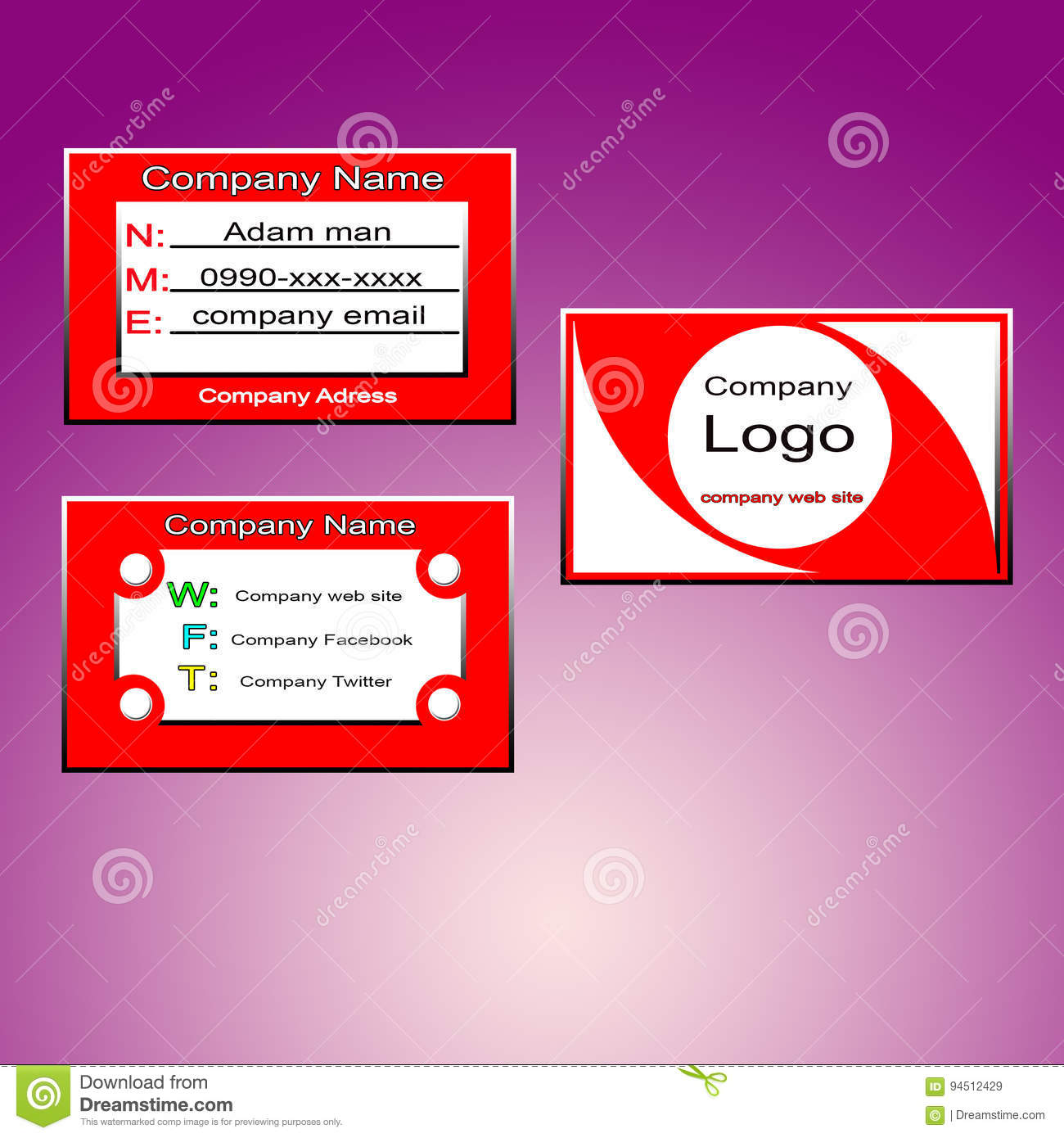 Business card red stock vector illustration of card 94512429 a red business card with three faces one for logo website another for name mobile number and third face for social networking sites colourmoves
