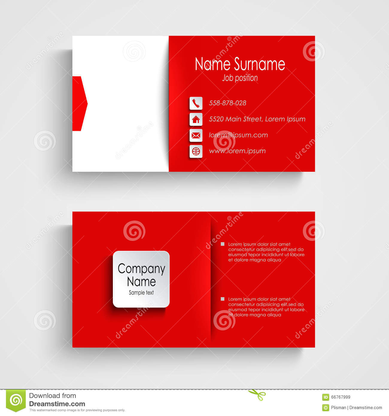 Business card with red white background template stock vector business card with red white background template flashek