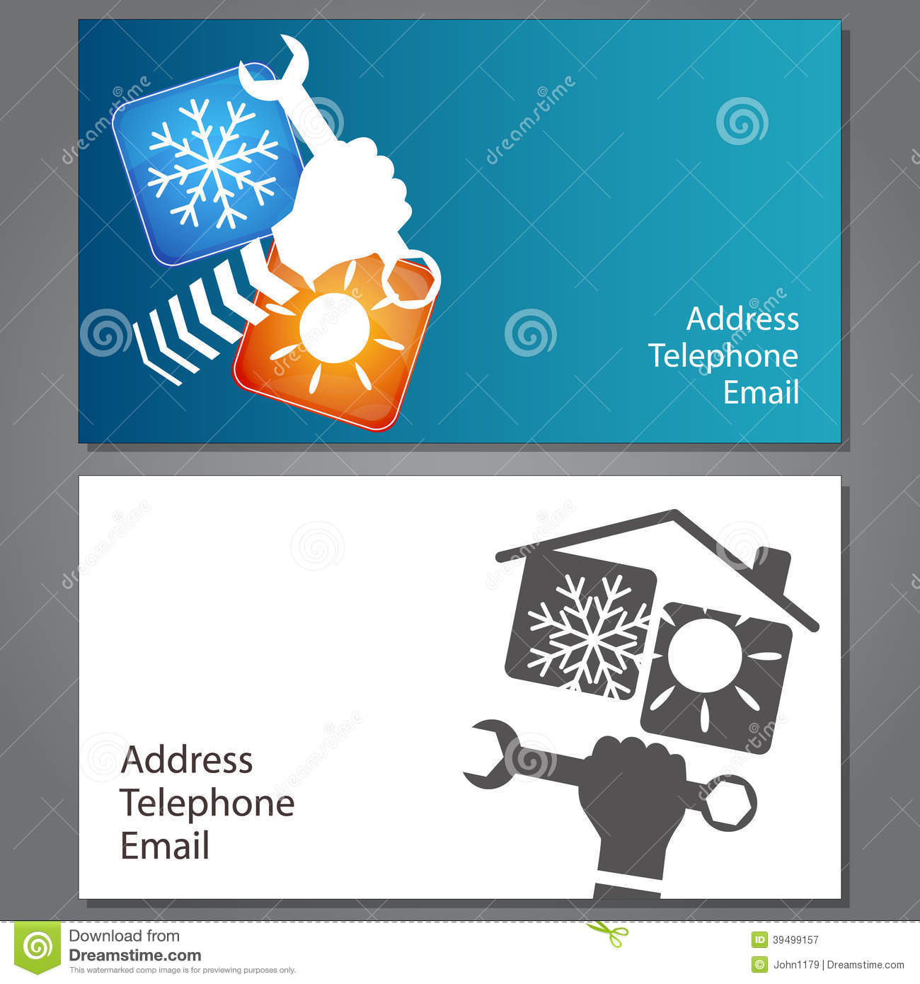 Business Card For Repair Of Air Conditioners Vector Illustration