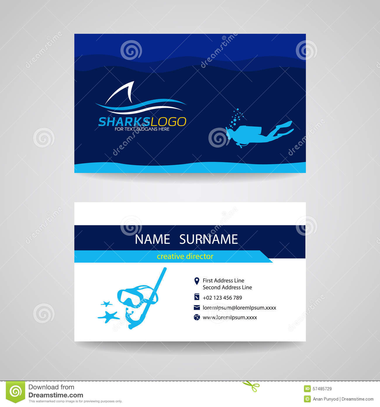 Business Card Of Scuba Diving And Shark Blue Vector Design Stock ...