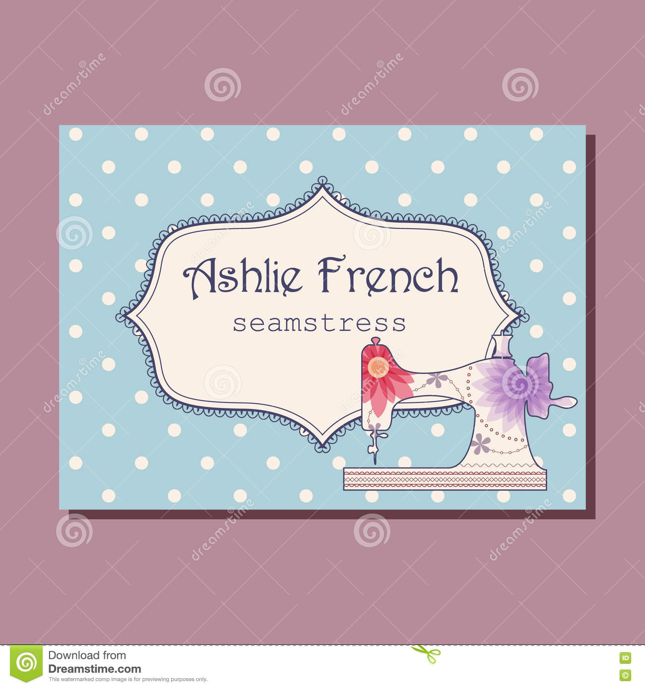Business Card For Seamstress Stock Vector - Illustration of ornate ...