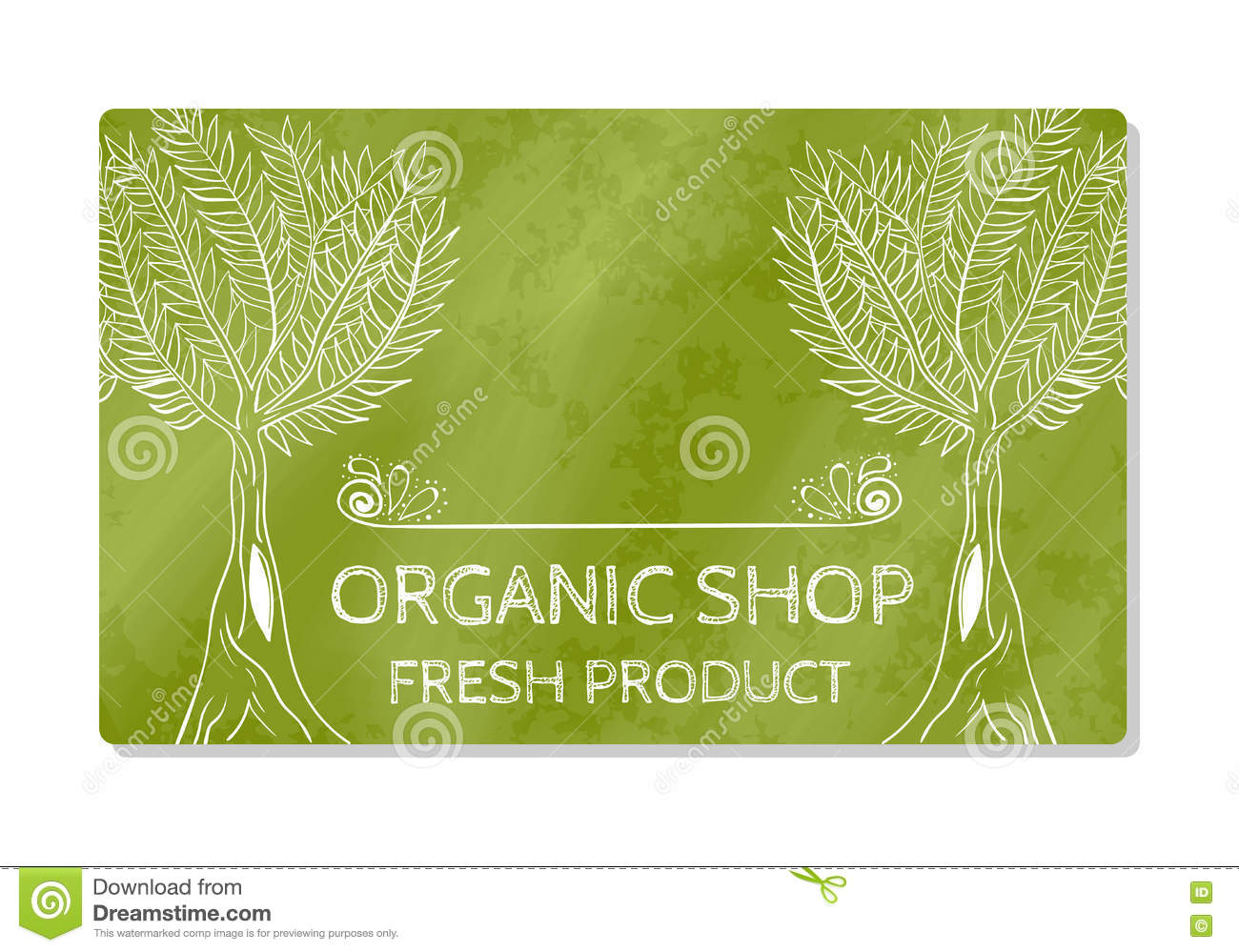 business card or storefront selling fresh organic food