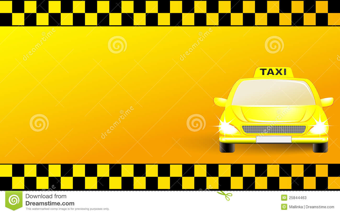 Business Card With Taxi Car On Yellow Background Stock Photos - Image ...