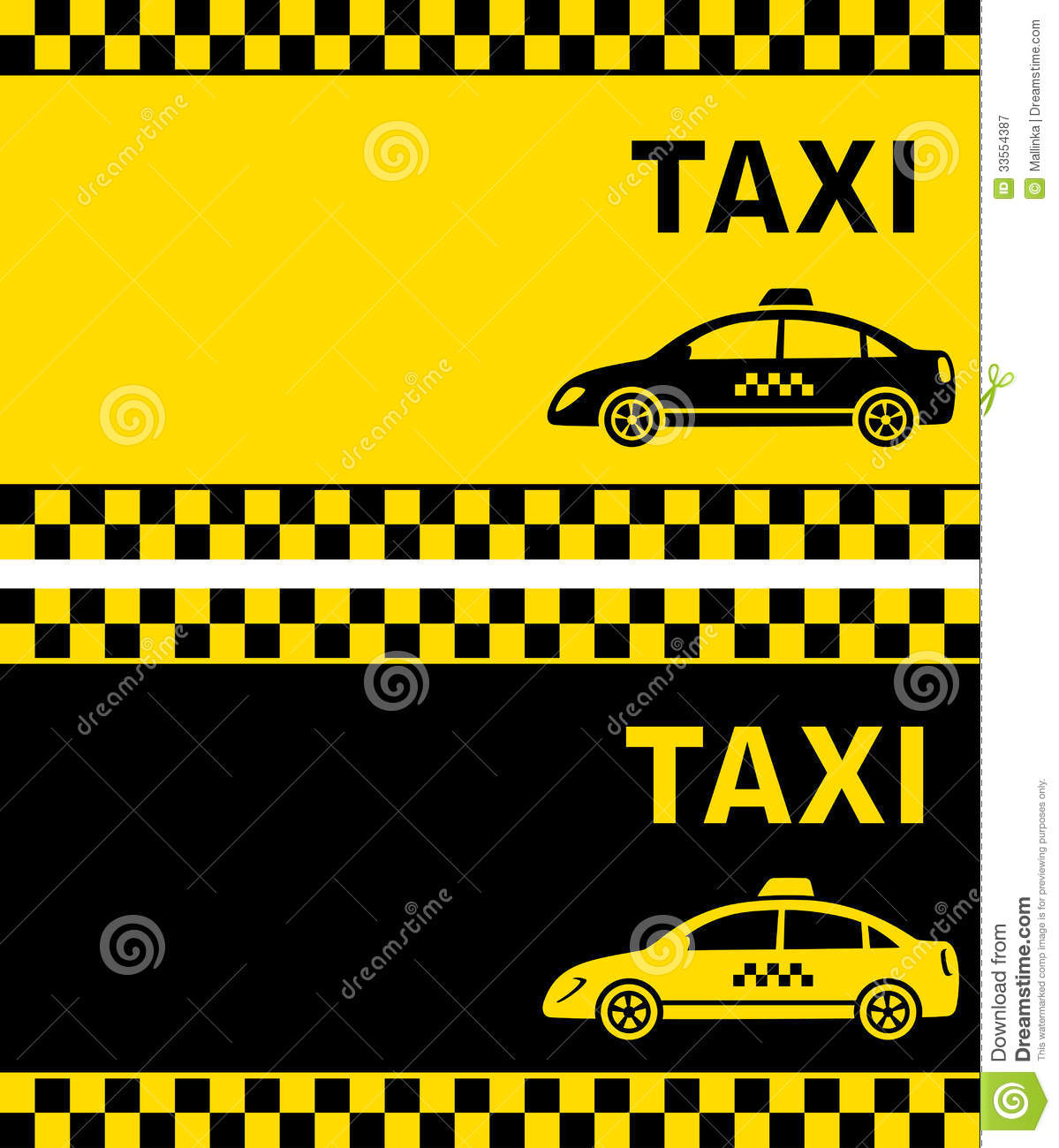 Business Card With Taxi Sign Stock Vector