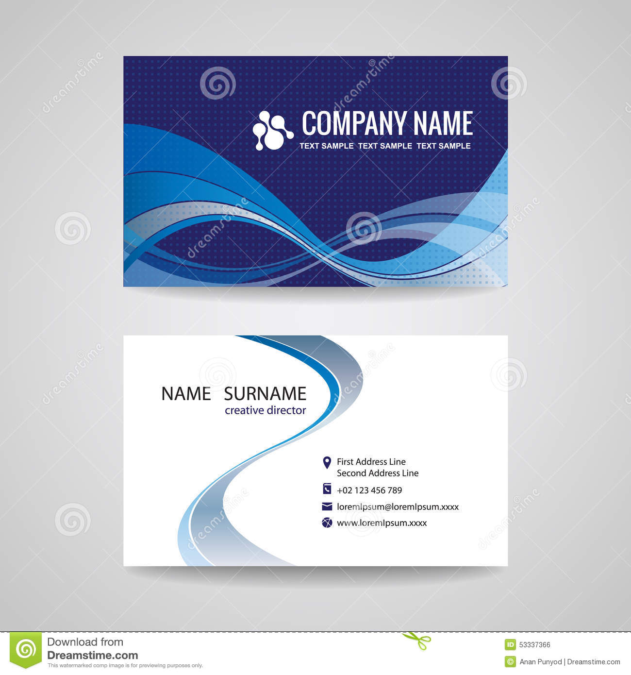 Blue wave modern business card design stock vector illustration of business card template abstract blue wave design royalty free stock image reheart Choice Image