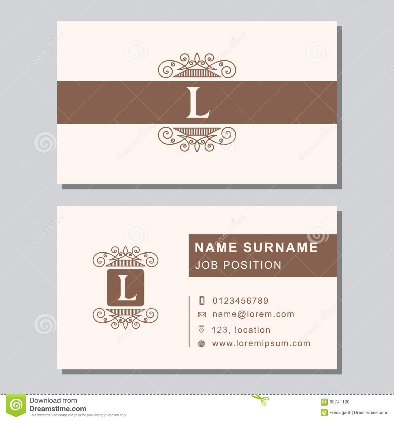 Business card template with abstract monogram design elements business card template with abstract monogram design elements modern elegant emblem letter l creative modern graceful background magicingreecefo Images