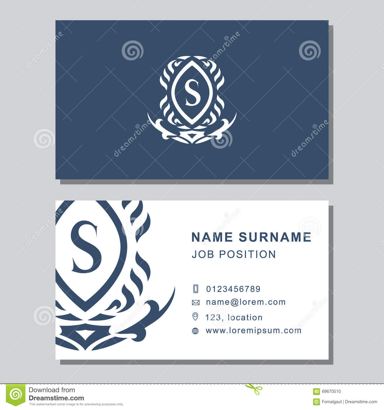 Business Card Template With Abstract Monogram Design