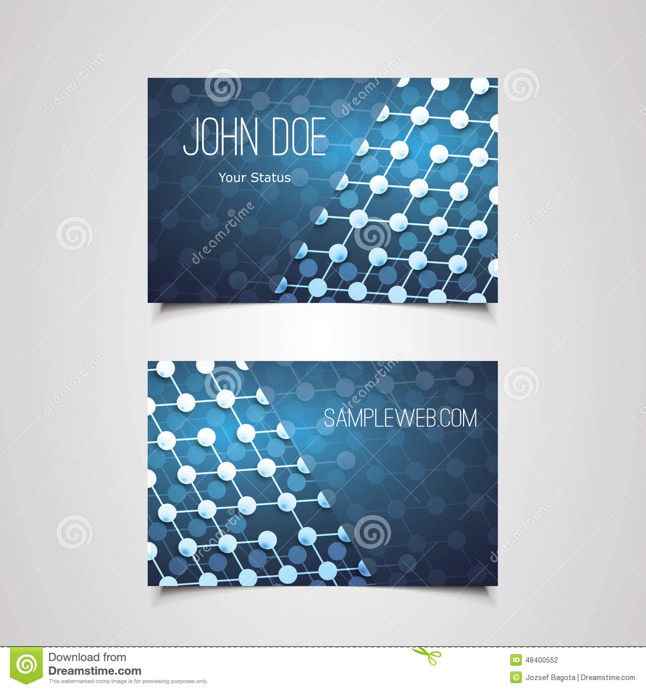 Business Card Template With Abstract Network Connections Pattern - Networking business card template