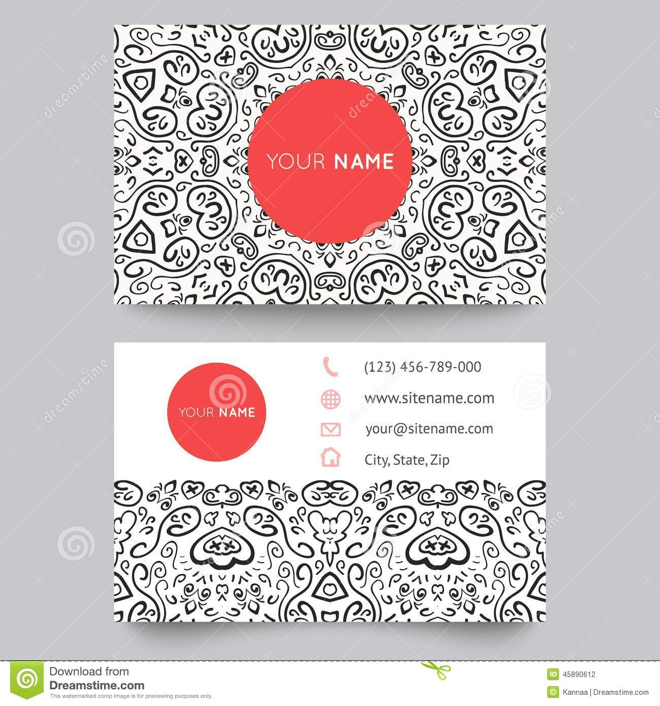 Business card template black red and white stock vector business card template black red and white flashek Gallery