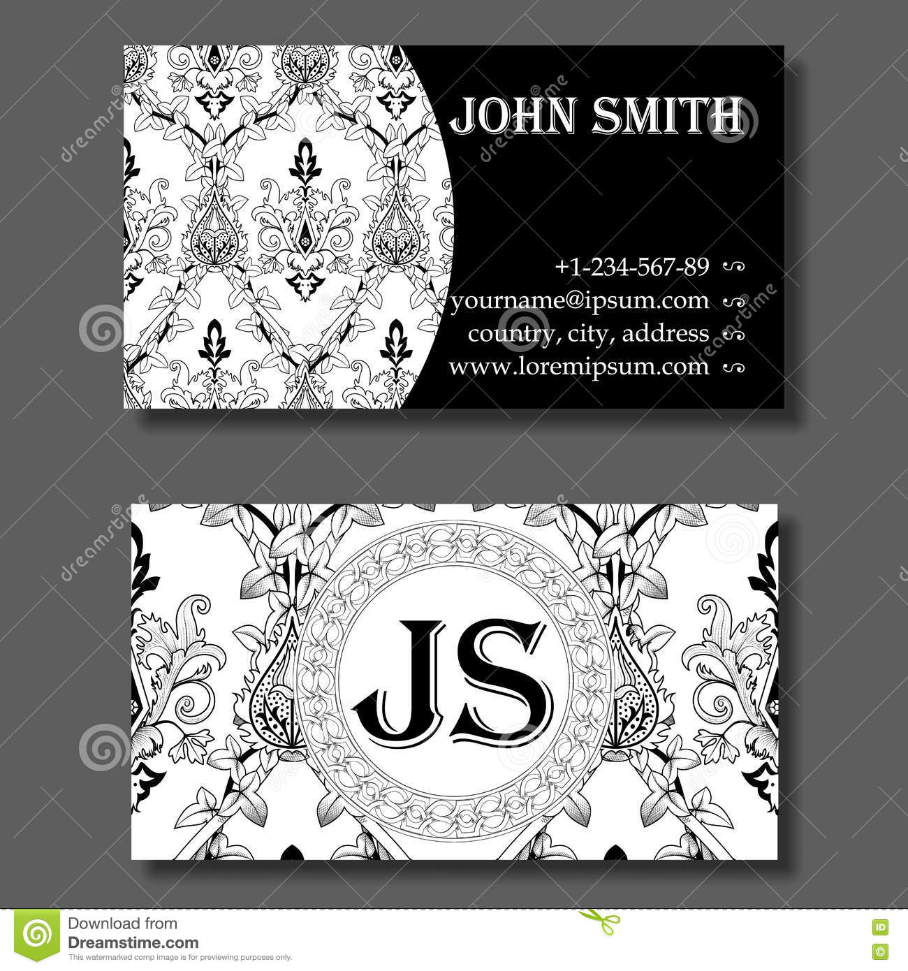 Business card template black and white vintage pattern stock vector business card template black and white vintage pattern flashek Images