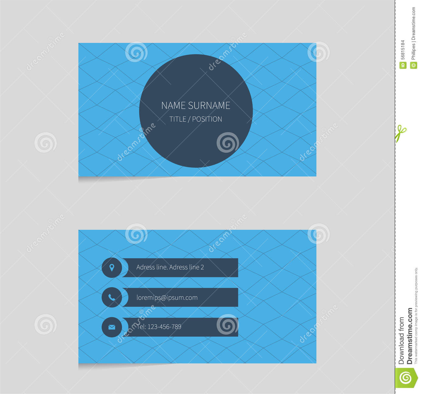 business card template in blue color stock vector illustration of