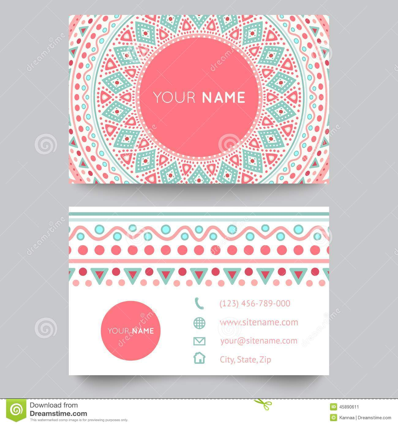 Business Card Template, Blue, White And Pink Stock Vector ...