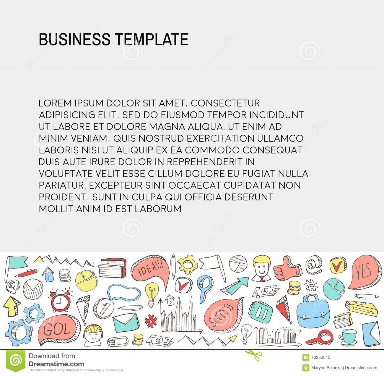 Download Business Card Template With Doodles Icons Set Sketch Stock
