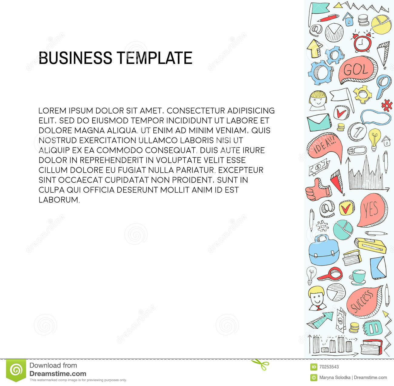 Business Card Template With Business Doodles Icons Set
