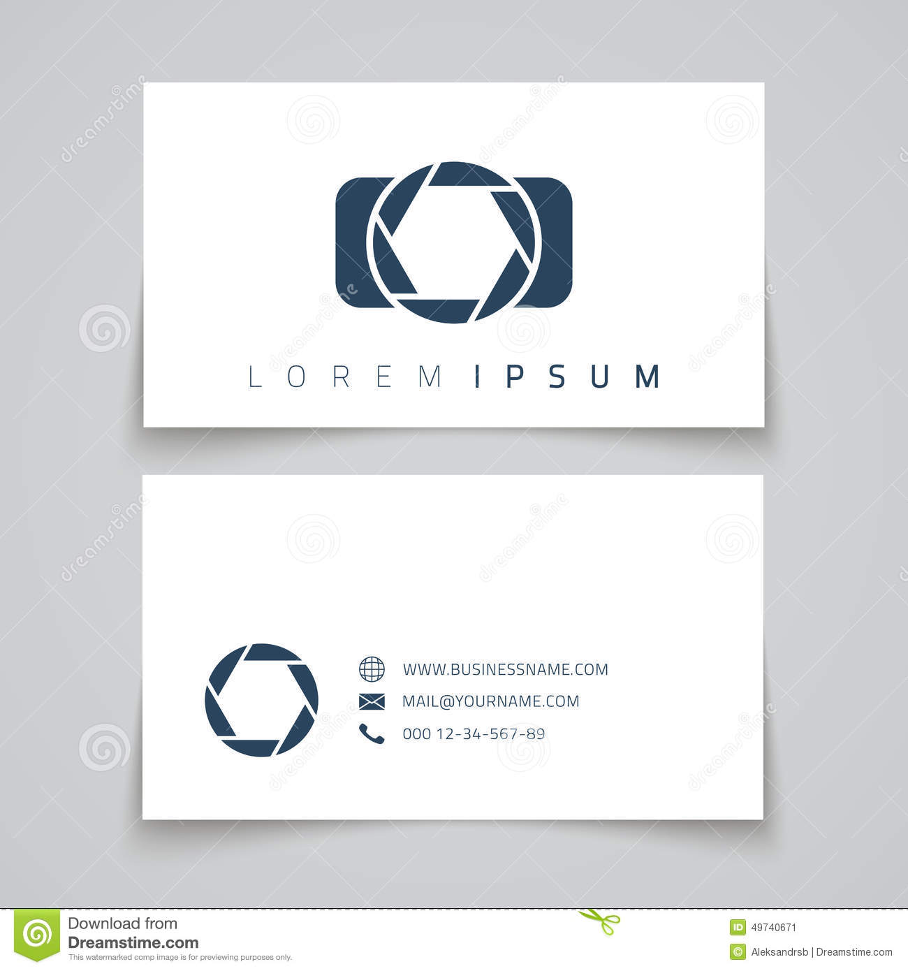 business card template camera conceptl logo stock vector  image