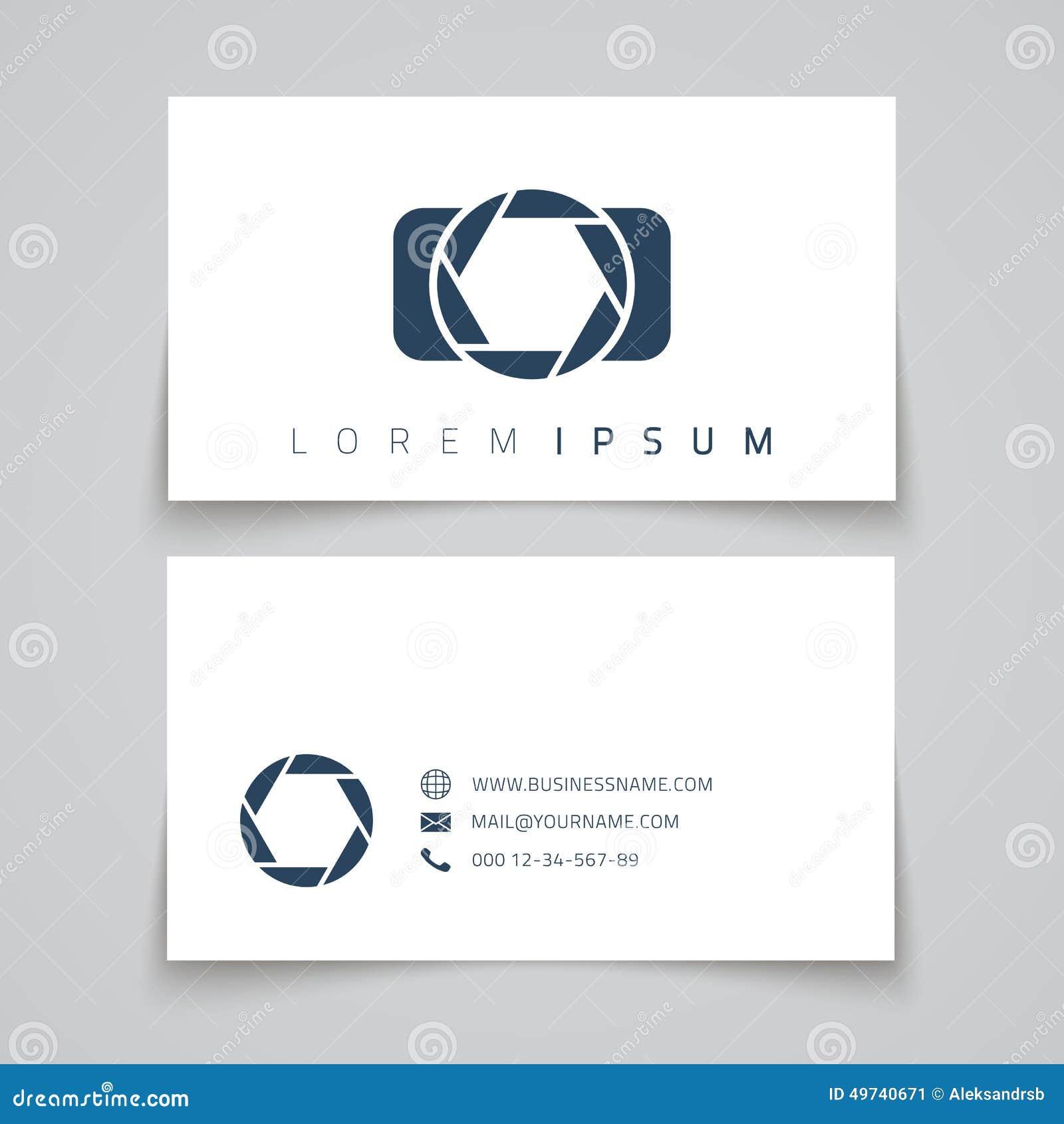 Business Card Template. Camera Conceptl Logo Stock Vector