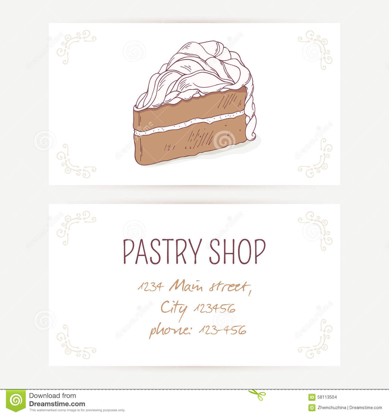 Cake business card template business card sample business card template with chocolate cake vector illustration sweet cheaphphosting Images