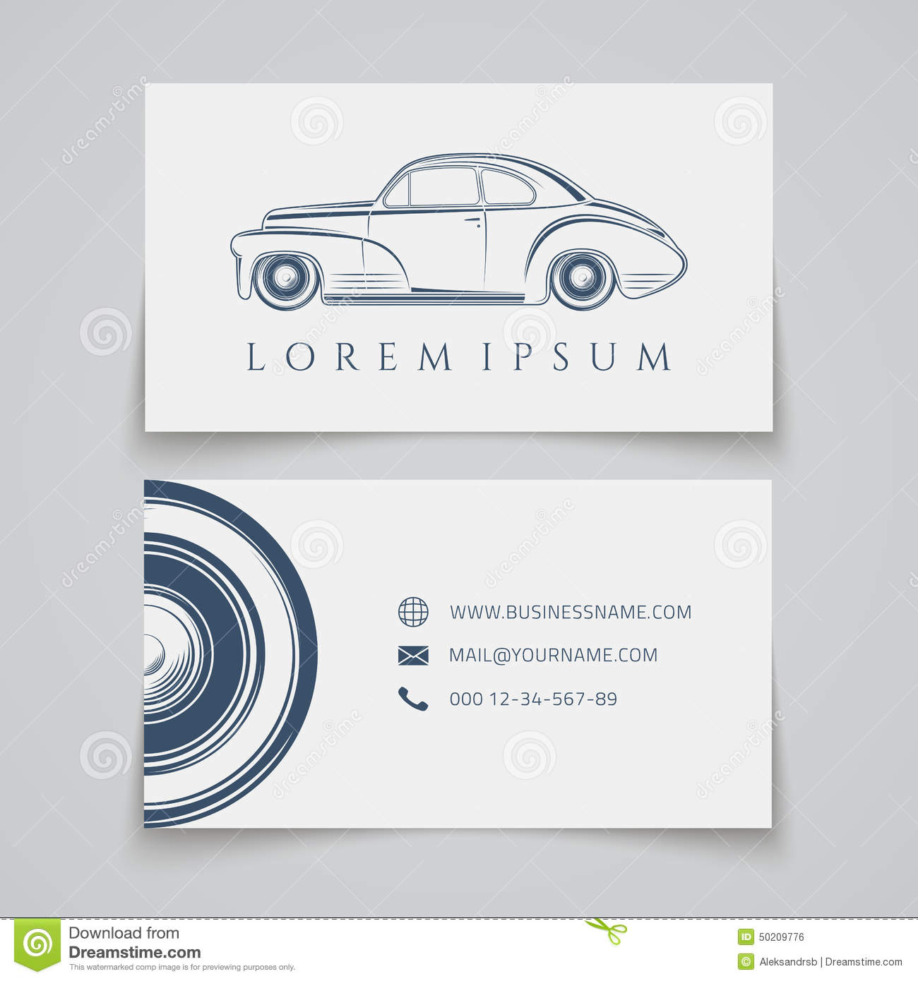 Business Card Template. Classic Car Logo Stock Vector - Image ...
