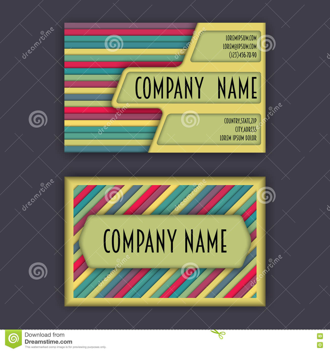 Business card template with 3d paper colorful lines stock download business card template with 3d paper colorful lines stock illustration illustration of framework accmission Images