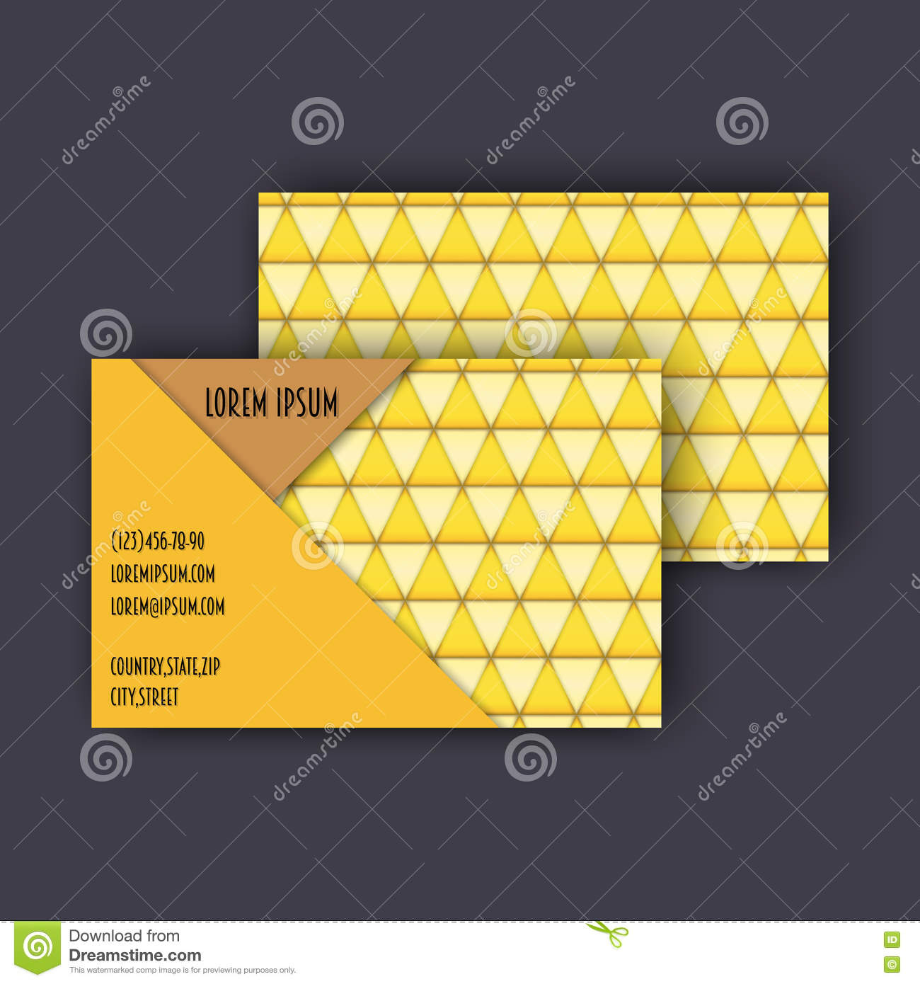 business card template with 3d paper colorful triangle texture stock
