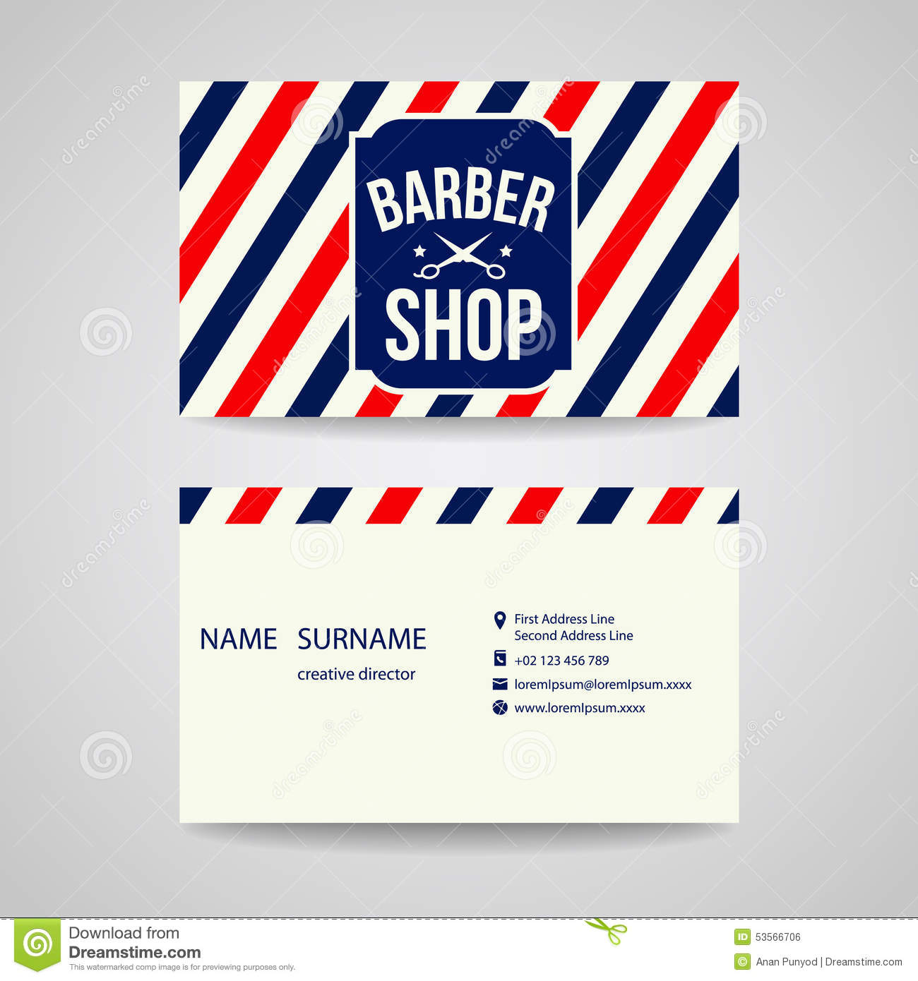 Business Card Template Design For Barber Shop Stock Vector