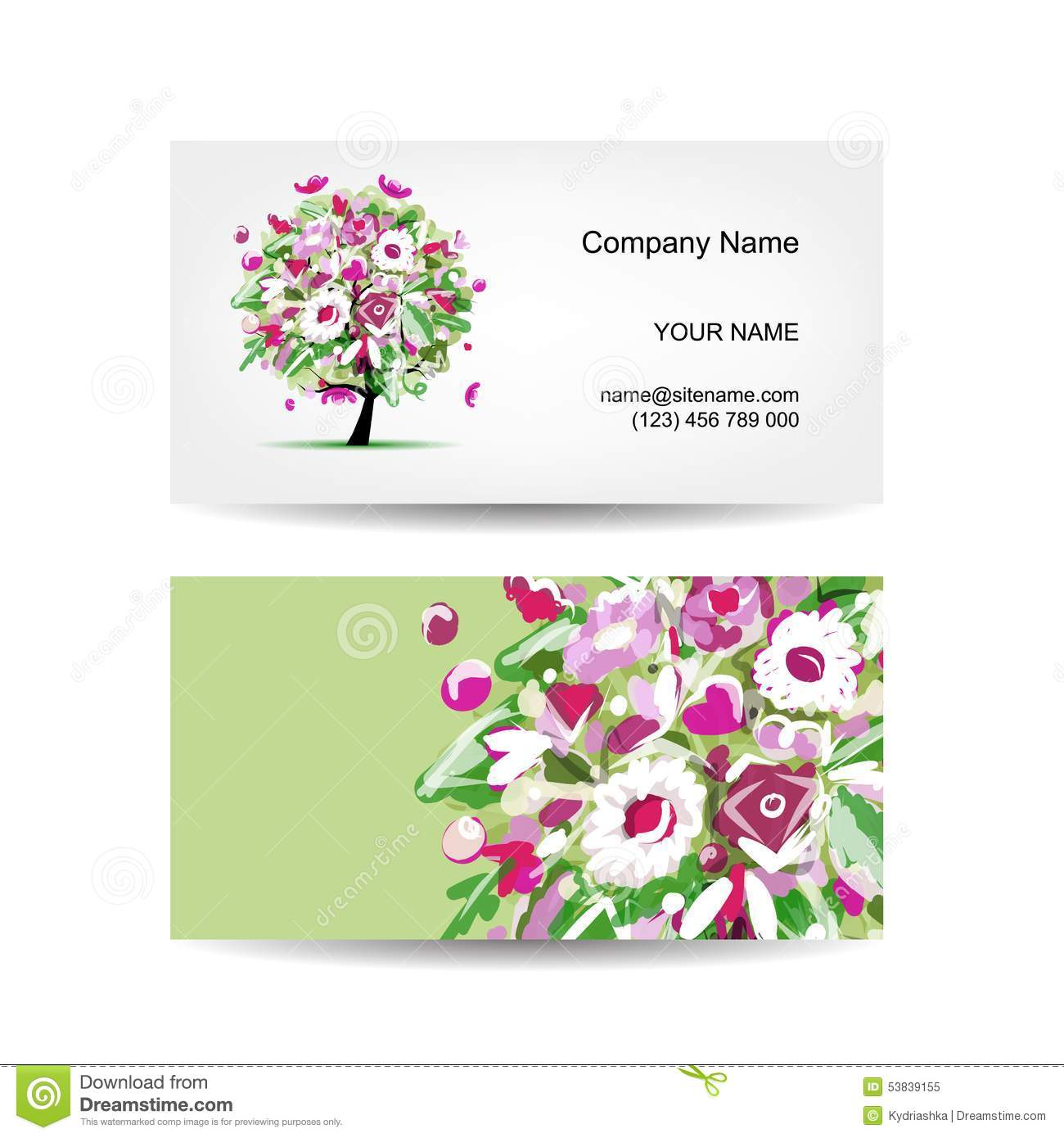 Business card template design floral tree stock vector image business card template design floral tree magicingreecefo Choice Image