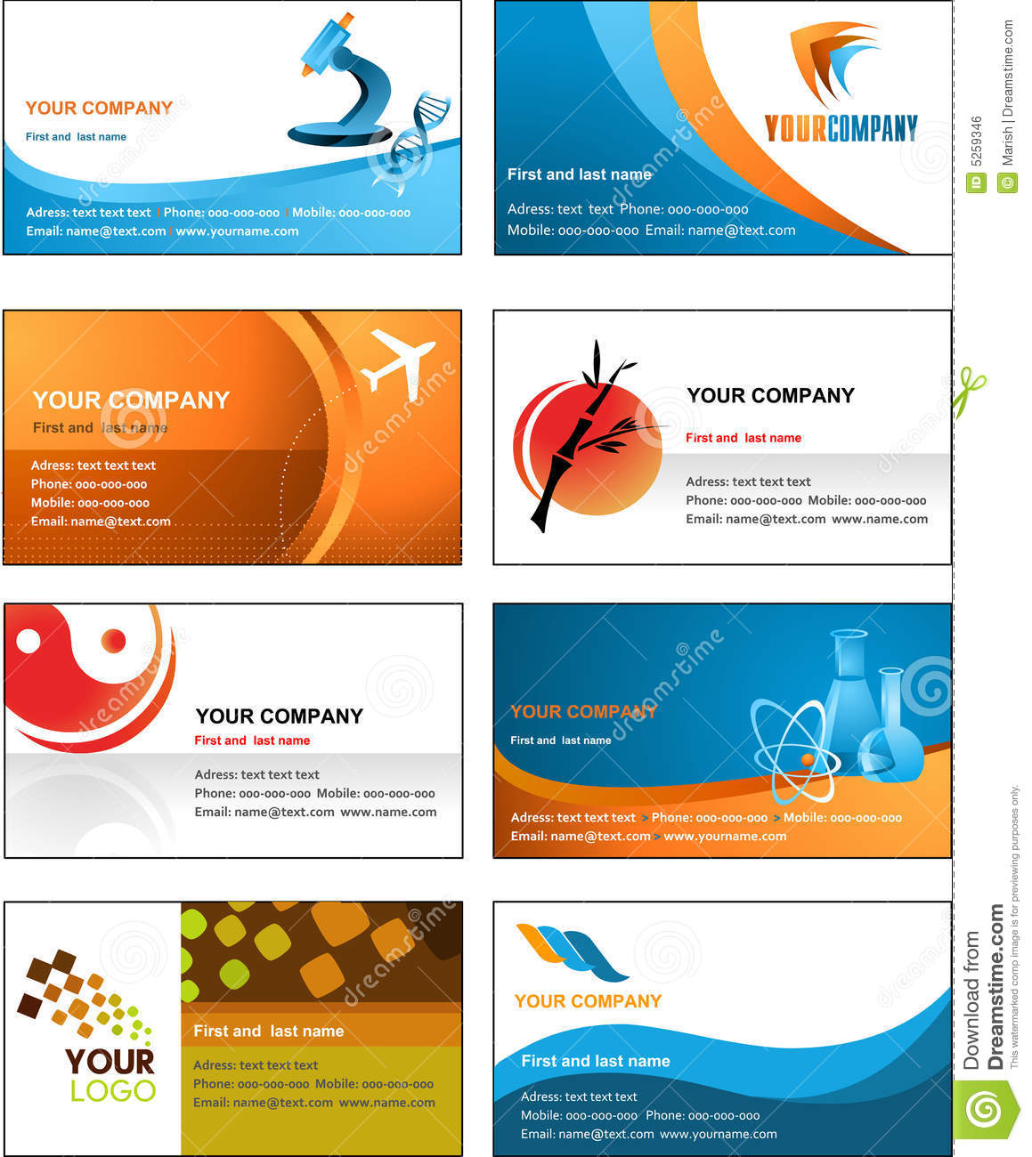 business card template design  vector file royalty free stock