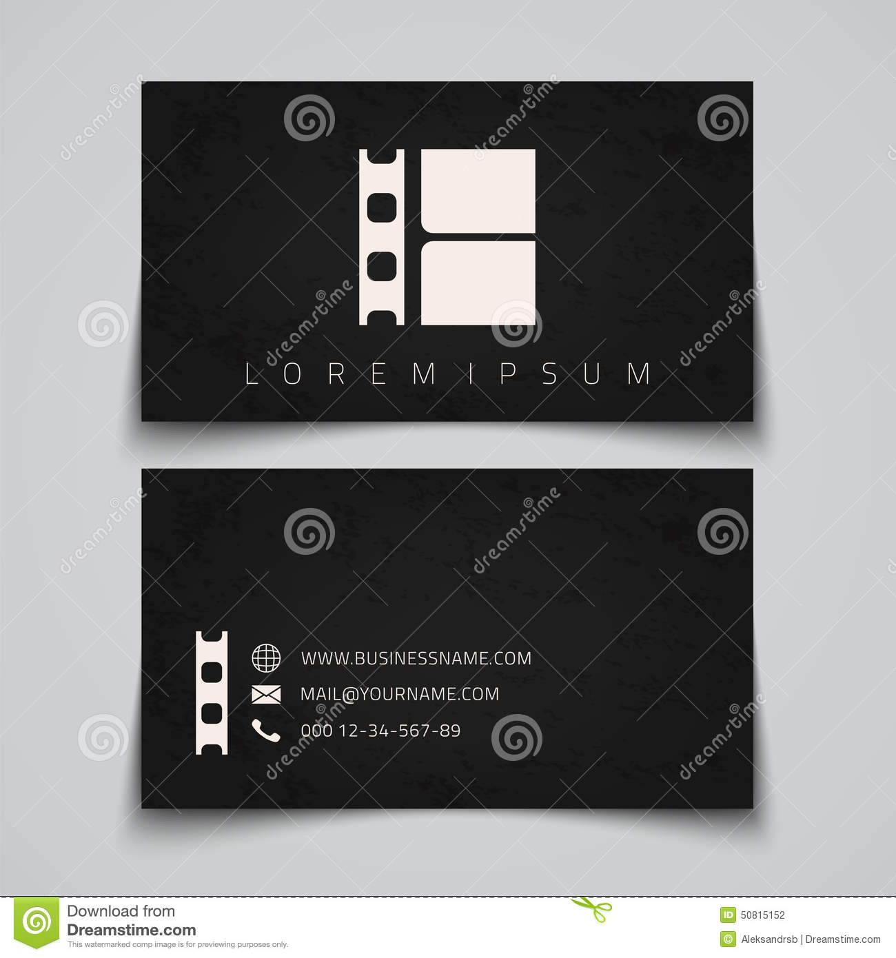 Business card template film strip concept logo stock vector business card template film strip concept logo reheart Images
