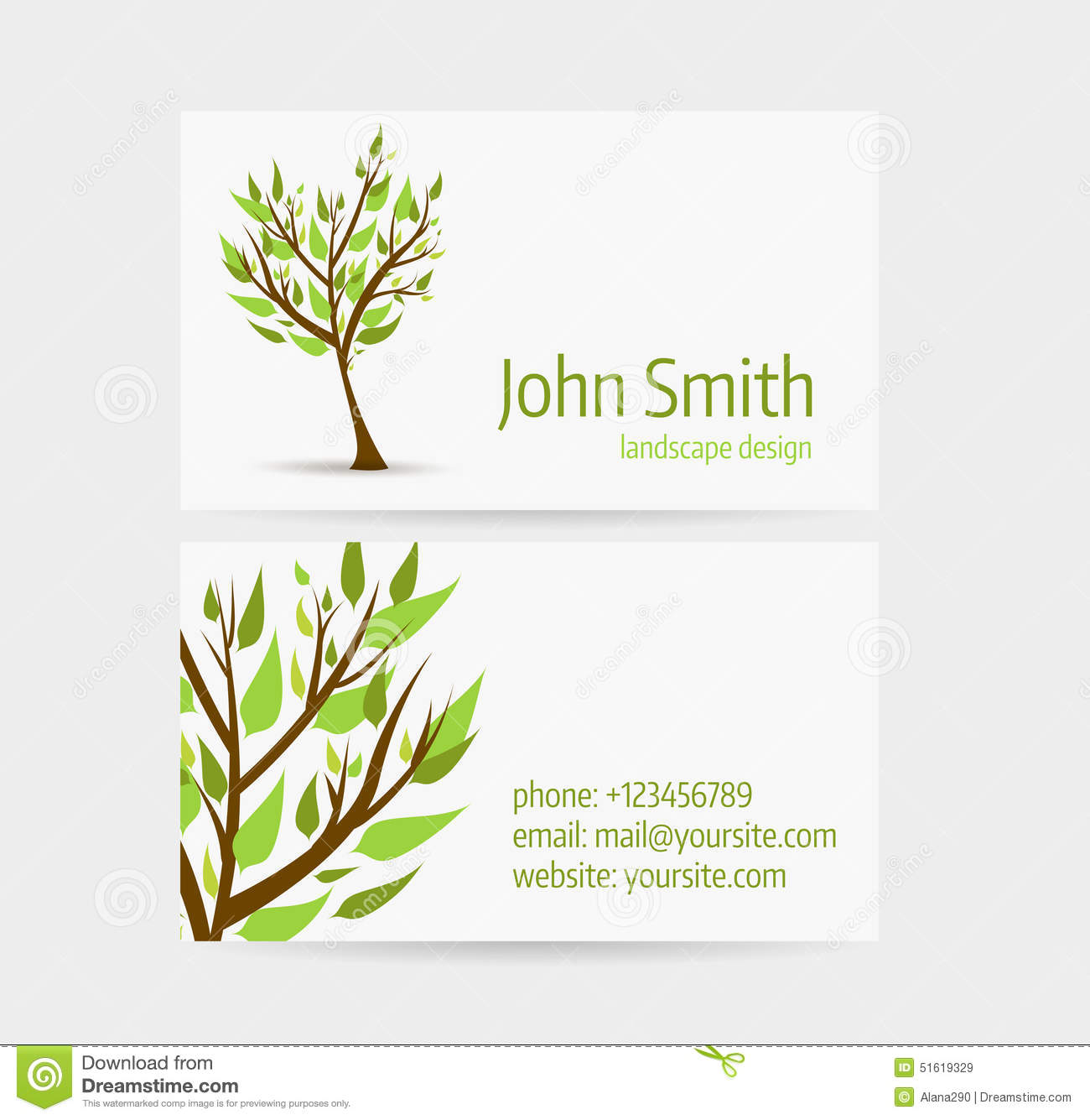 Business card template stock vector illustration of media 51619329 business card template front and back side abstract tree design colourmoves