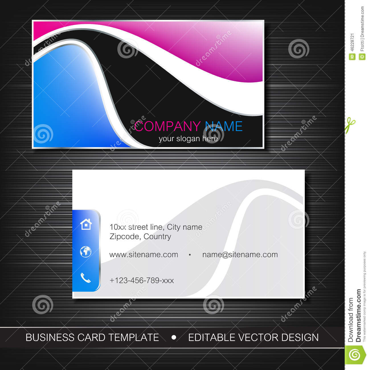 Business card stock vector image 46228721 for Front and back business card template