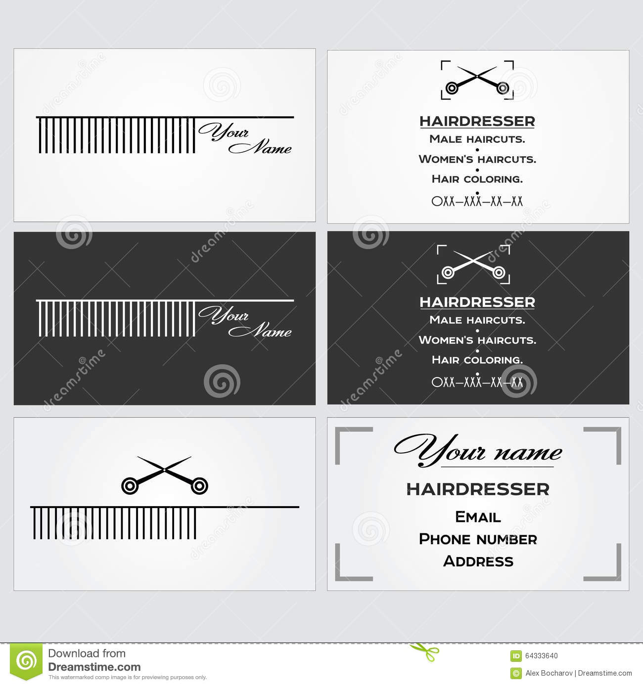 Business Card Template For A Hairdresser. Stock Vector ...