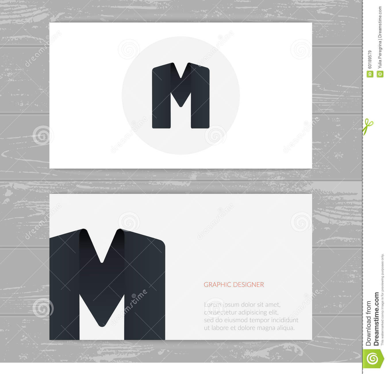 business card template with logo alphabet letter m  stock vector