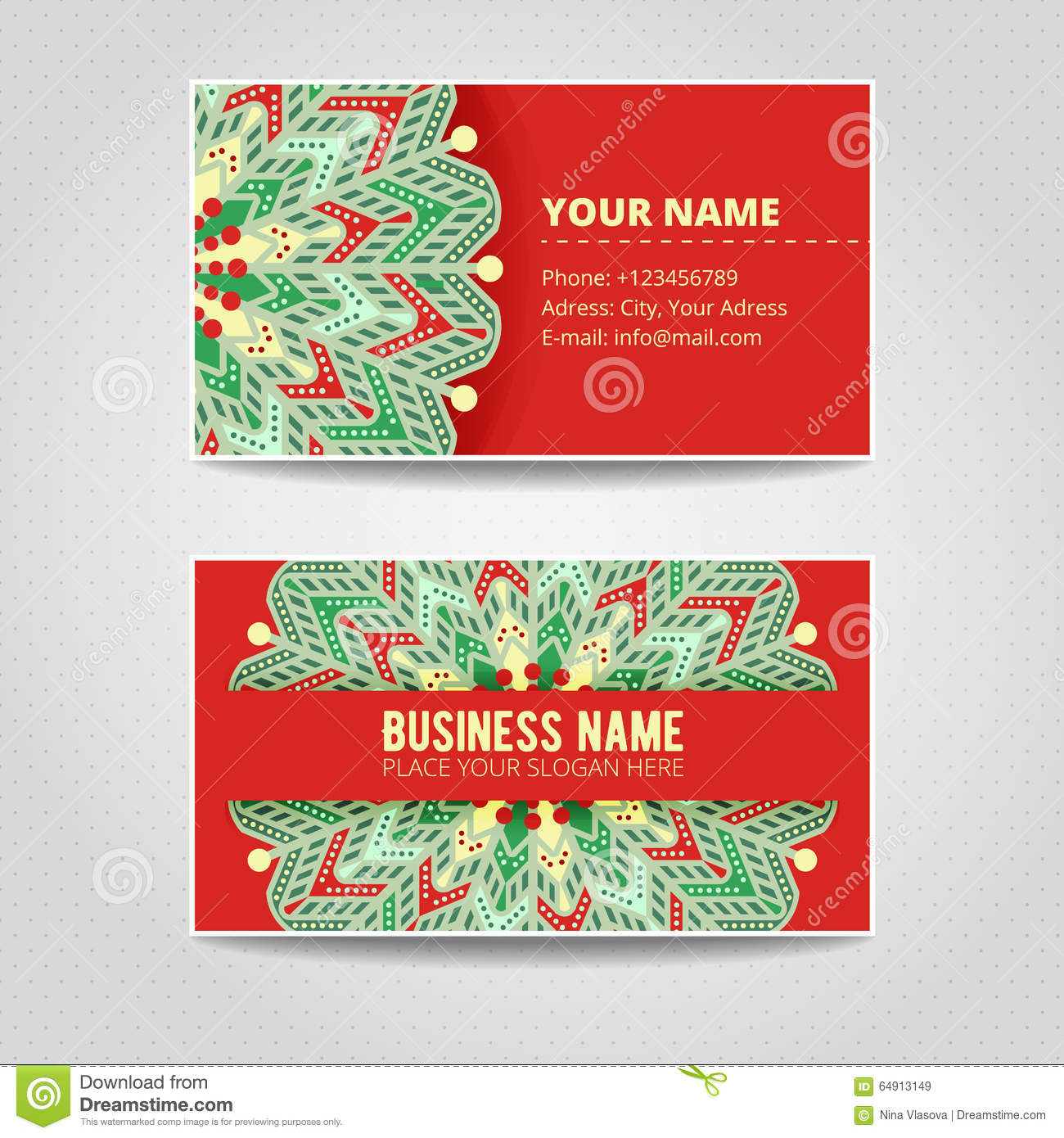Business Card Template. Mandala With Many Details. Stock ...