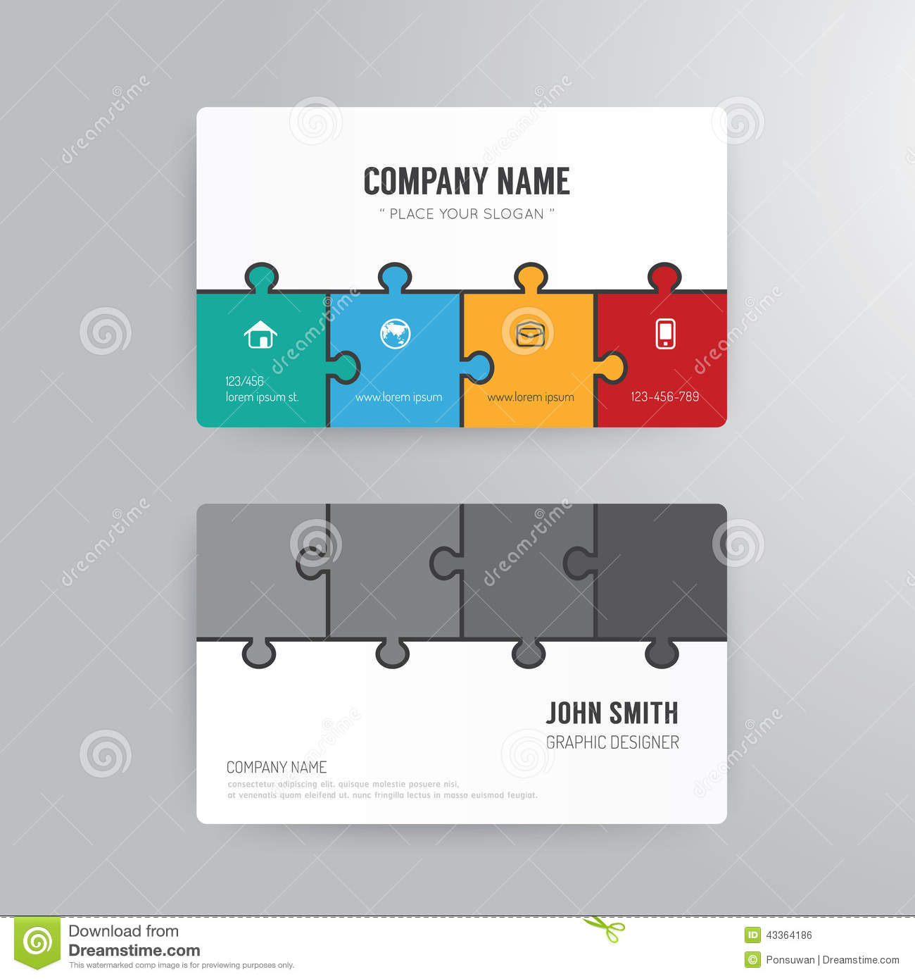 Business card template modern abstract jigsaw concept stock vector download business card template modern abstract jigsaw concept stock vector illustration of icon colourmoves